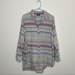 BDG Plaid Long Sleeve Top Button Up Large